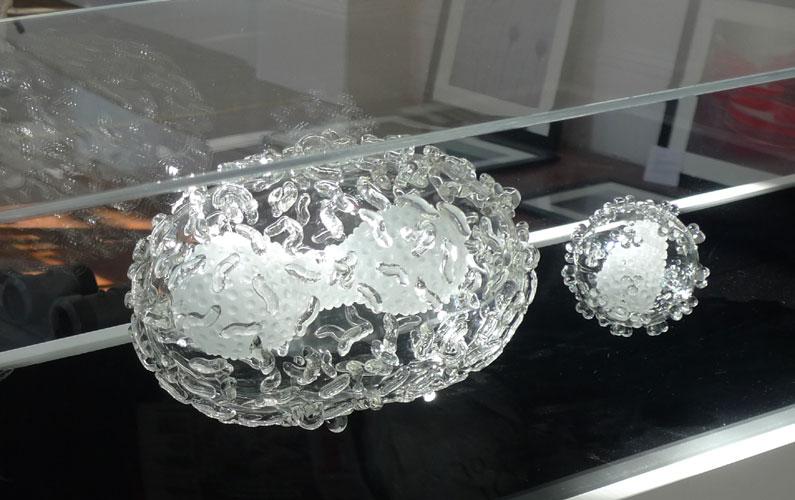 glasswork in cabinet