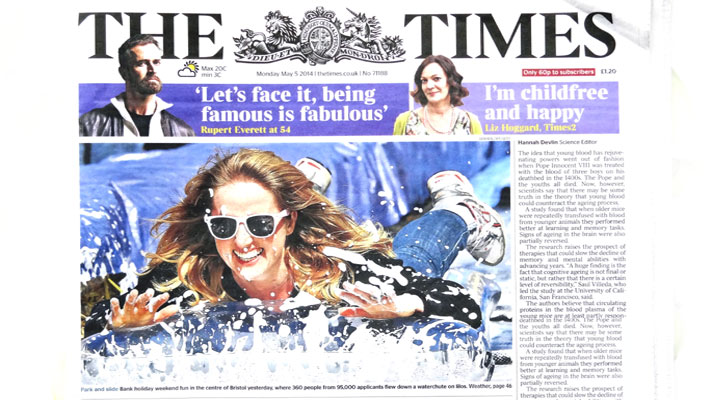 'Park and Slide' makes front cover of the Times